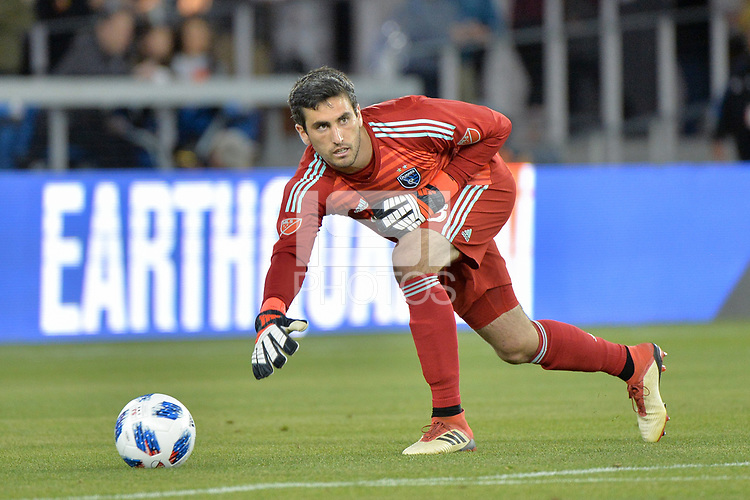 San Jose, CA - Saturday April 14, 2018: Andrew Tarbell during a Major League Soccer (MLS) match between the San Jose Earthquakes and the Houston Dynamo at Avaya Stadium.