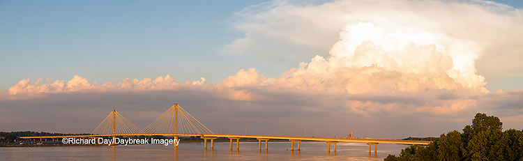 63895-15505 Clark Bridge over Mississippi River and thunderstorm (Cumulonimbus Cloud) Alton, IL