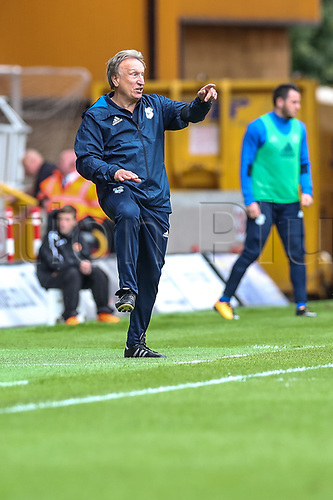 19th August 2017, Molineux, Wolverhampton, England; EFL Championship league football, Wolves versus Cardiff City; Neil Warnock Manager of Cardiff City giving his team instructions