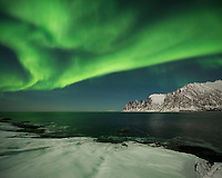 Northern lights over Ersfjord, Senja, Norway