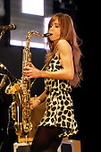 The Zutons - saxophonist Abi Harding - performing live on Day 2 at the UK's biggest free festival - Radio 1's Big Weekend held at Mote Park Maidstone Kent UK - 11th May 2008.  Photo credit: George Chin/IconicPix