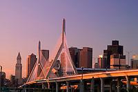 Zakim Bridge and skyline, sunrise, Boston, MA