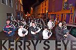 The Killorglin & District pipe band leading the Halloween Parade through Killorglin last Saturday night.