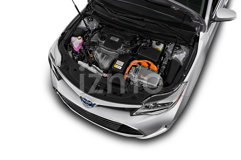 Car stock 2018 Toyota Avalon Limited Hybrid 4 Door Sedan engine high angle detail view