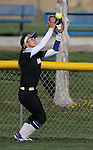 Western Nevada's Melanie Mecham makes a catch in centerfield against Salt Lake Community College at Edmonds Sports Complex in Carson City, Nev., on Friday, April 15, 2016. <br />Photo by Cathleen Allison