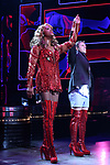 "Broadway Debut Jake Shears with J. Harrison Ghee as during the curtain call bows for ""Kinky Boots"" at the Al Hirschfeld Theatre on January 8, 2018 in New York City."