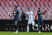 Daniele Rugani   celebrates after scoring during the Italian Serie A soccer match between   SSC Napoli and Empolii    at San Paolo   stadium in Naples , December 07, 2014<br />  Esultanza