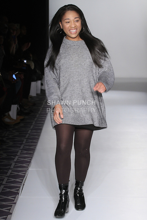 Fashion designer walks runway at the close of her Char Fall 2016 collection fashion show, at the Emerging Designers Fall 2016 show, at Fashion Gallery New York Fashion Week Fall Winter 2016, during New York Fashion Week Fall 2016.