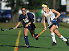 Mackenzie Conkling #1 of Massapequa, right, gets pressured by Alexa Stegmuller #23 of Baldwin during the first half of a Nassau County Conference I varsity field hockey match at Field of Dreams Park in Massapequa on Monday, Sept. 26, 2016. Conkling recorded one goal in Massapequa's 5-0 win.