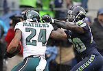 Seattle Seahawks cornerback Jeremy Lane (20) reaches to push Philadelphia Eagles running back Ryan Mathews (24) out of bounds at CenturyLink Field in Seattle, Washington on November 20, 2016.  Seahawks beat the Eagles 26-15.  ©2016. Jim Bryant Photo. All Rights Reserved.