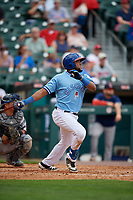Buffalo Bisons Socrates Brito (51) at bat during an International League game against the Pawtucket Red Sox on August 25, 2019 at Sahlen Field in Buffalo, New York.  Buffalo defeated Pawtucket 5-4 in 11 innings.  (Mike Janes/Four Seam Images)