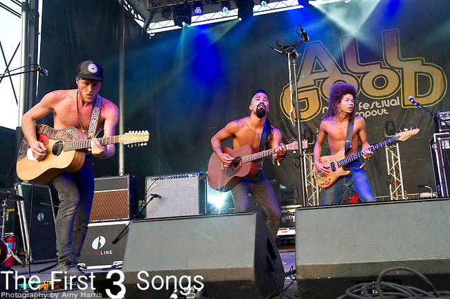 Nahko and Medicine for the People performs during the All Good Music Festival at Legend Valley in Thornville, Ohio.