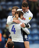 Preston North End's Ben Pearson celebrates scoring his side's fourth goal with team-mates Alan Browne and Tom Barkhuizen<br /> <br /> Photographer Kevin Barnes/CameraSport<br /> <br /> The EFL Sky Bet Championship - Preston North End v Barnsley - Saturday 5th October 2019 - Deepdale Stadium - Preston<br /> <br /> World Copyright © 2019 CameraSport. All rights reserved. 43 Linden Ave. Countesthorpe. Leicester. England. LE8 5PG - Tel: +44 (0) 116 277 4147 - admin@camerasport.com - www.camerasport.com