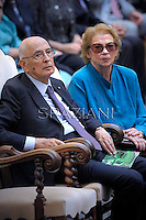 GIORGIO NAPOLITANO, President of the Italian republic and his wife CLIO , Concert in honor of Pope BENEDICT XVI, of his summer residence in Castelgandolfo on the outskirts of Rome , with the Italian President GIORGIO NAPOLITANO    . The West-Eastern Divan Orchestra direct by DANIEL BARENBOIM.July 11, 2012