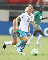 Kristine Lilly #13 of Marta's XI during the WPS All-Star game against Abby's XI at the KSU Stadium in Kennesaw, Georgia on June 30 2010. Marta XI won 5-2.