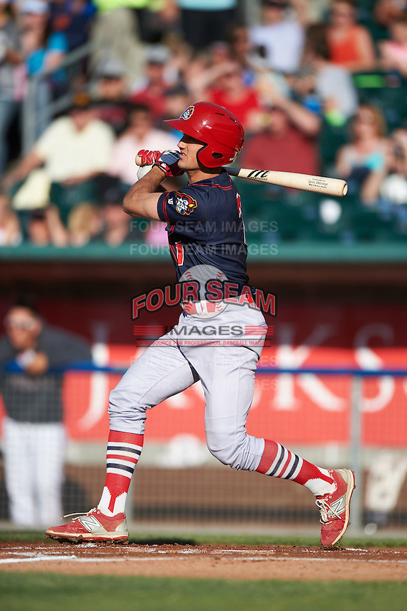 Peoria Chiefs third baseman Danny Diekroeger (7) at bat during a game against the Lansing Lugnuts on June 6, 2015 at Cooley Law School Stadium in Lansing, Michigan.  Lansing defeated Peoria 6-2.  (Mike Janes/Four Seam Images)