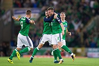 Northern Ireland's Chris Brunt celebrates scoring his sides second goal with team mates      <br /> <br /> <br /> Photographer Craig Mercer/CameraSport<br /> <br /> FIFA World Cup Qualifying - European Region - Group C - Northern Ireland v Czech Republic - Monday 4th September 2017 - Windsor Park - Belfast<br /> <br /> World Copyright &copy; 2017 CameraSport. All rights reserved. 43 Linden Ave. Countesthorpe. Leicester. England. LE8 5PG - Tel: +44 (0) 116 277 4147 - admin@camerasport.com - www.camerasport.com