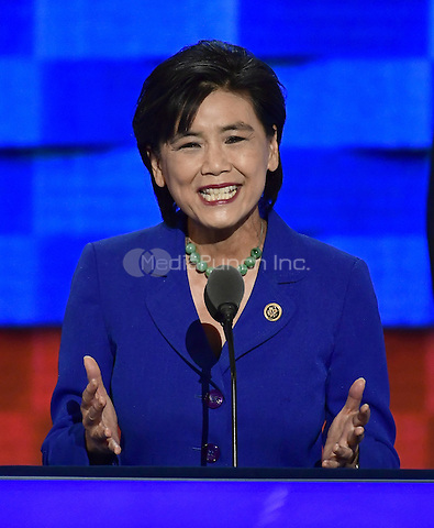 United States Representative Judy Chu (Democrat of California) makes remarks during the third session of the 2016 Democratic National Convention at the Wells Fargo Center in Philadelphia, Pennsylvania on Wednesday, July 27, 2016.<br /> Credit: Ron Sachs / CNP/MediaPunch<br /> (RESTRICTION: NO New York or New Jersey Newspapers or newspapers within a 75 mile radius of New York City)
