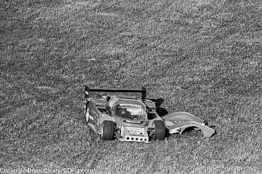 #63 Argo JM16 098/Mazda  of Jim Downing and John Maffucci, 74th place after crash, aerial view from Goodyear Blimp, 12 Hours of Sebring, IMSA Camel GT race, Sebring International Raceway, Sebring, Florida, March 24, 1984.  (Photo by Brian Cleary/www.bcpix.com)