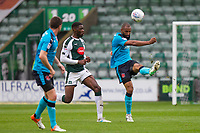 Nathan Pond of Fleetwood Town clears from Nathan Blissett of Plymouth Argyle during the Sky Bet League 1 match between Plymouth Argyle and Fleetwood Town at Home Park, Plymouth, England on 7 October 2017. Photo by Mark  Hawkins / PRiME Media Images.
