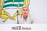 Stockholm 2015-04-25 Fotboll Allsvenskan Hammarby IF - &Aring;tvidabergs FF :  <br /> Hammarbys tr&auml;nare Nanne Bergstrand under presskonferensen efter matchen mellan Hammarby IF och &Aring;tvidabergs FF <br /> (Foto: Kenta J&ouml;nsson) Nyckelord:  Fotboll Allsvenskan Tele2 Arena Hammarby HIF Bajen &Aring;tvidaberg &Aring;FF tr&auml;nare manager coach press presskonferens intervju portr&auml;tt portrait
