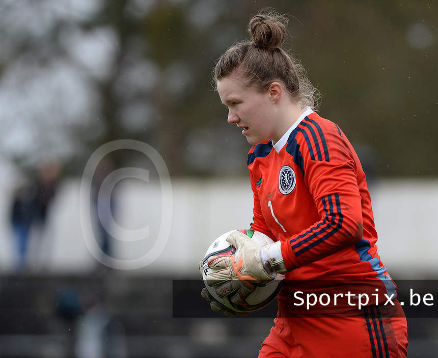 20150404 - FORST , GERMANY  : Scottish goalkeeper Chloe Logan  pictured during the soccer match between Women Under 19 teams of Germany and Scotland , on the first matchday in group 5 of the UEFA Elite Round Women Under 19 at WaldseeStadion , Forst , Germany . Saturday 4th April 2015 . PHOTO DAVID CATRY