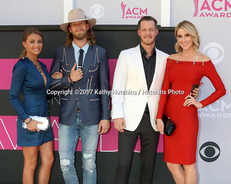 LAS VEGAS - APR 2:  Florida Georgia Line, Brittney Marie Cole, Brian Kelley, Tyler Hubbard, Hayley Stommel at the Academy of Country Music Awards 2017 at T-Mobile Arena on April 2, 2017 in Las Vegas, NV