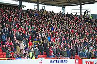 Lincoln City fans before kick off<br /> <br /> Photographer Andrew Vaughan/CameraSport<br /> <br /> Vanarama National League - Gateshead v Lincoln City - Monday 17th April 2017 - Gateshead International Stadium - Gateshead <br /> <br /> World Copyright &copy; 2017 CameraSport. All rights reserved. 43 Linden Ave. Countesthorpe. Leicester. England. LE8 5PG - Tel: +44 (0) 116 277 4147 - admin@camerasport.com - www.camerasport.com