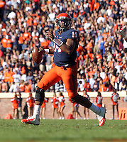 Virginia Cavaliers quarterback Phillip Sims (14) prepares to throw the ball during the game against Maryland in Charlottesville, Va. Maryland defeated Virginia 27-20.