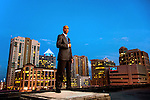 The Ft Lauderdale skyline looms behind attorney Eugene Pettis in Ft. Lauderdale, Florida  April  11, 2013.  Pettis is the incoming president of the Florida Bar.<br />