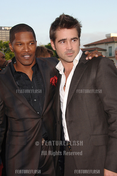 "Actors COLIN FARRELL & JAMIE FOXX at the world premiere, in Los Angeles, of their new movie ""Miami Vice."".July 20, 2006  Los Angeles, CA.© 2006 Paul Smith / Featureflash"