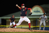 Batavia Muckdogs relief pitcher RJ Peace (25) delivers a pitch during a game against the Tri-City ValleyCats on July 14, 2017 at Dwyer Stadium in Batavia, New York.  Batavia defeated Tri-City 8-4.  (Mike Janes/Four Seam Images)
