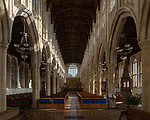 Interior of Holy Trinity Church, Long Melford, Suffolk, England, UK view down nave to east window