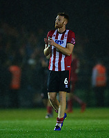 Lincoln City's Cian Bolger applauds the fans at the final whistle<br /> <br /> Photographer Andrew Vaughan/CameraSport<br /> <br /> The Carabao Cup Second Round - Lincoln City v Everton - Wednesday 28th August 2019 - Sincil Bank - Lincoln<br />  <br /> World Copyright © 2019 CameraSport. All rights reserved. 43 Linden Ave. Countesthorpe. Leicester. England. LE8 5PG - Tel: +44 (0) 116 277 4147 - admin@camerasport.com - www.camerasport.com