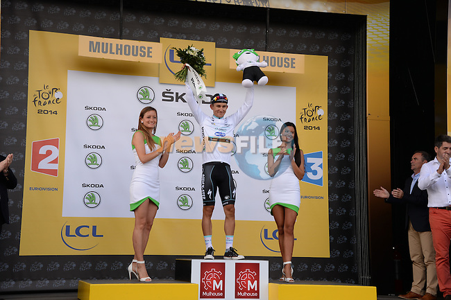 Michal Kwiatkowski (POL) Omega Pharma-Quick Step wears the young rider's White Jersey after Stage 9 of the 2014 Tour de France running 170km from Gerardmer to Mulhouse. 13th July 2014.<br />