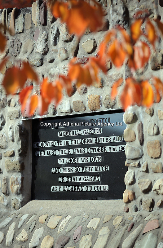 Pictured: A plaque at the Memorial Garden where Pantglas Junior School used to be Friday 21 October 2016<br />