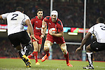 Wales lock Luke Charteris takes on the Fiji front row pair of Sunia Koto and Manasa Saulo<br /> Dove Men Series 2014<br /> Wales v Fiji<br /> Millennium Stadium<br /> 15.11.14<br /> ©Steve Pope-SPORTINGWALES