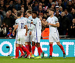 Gary Cahill of England celebrates his goal (r) during the FIFA World Cup Qualifying Group F match at Wembley Stadium, London. Picture date: November 11th, 2016. Pic David Klein/Sportimage