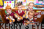 Pupils from the Moyderwell Mercy Primary School 'Colour My Strings Foundation and After-School Programme Alex Tuite, Luke Enright, Edith Lucey and Ava Sharma at a Concert in the School Hall on Thursday