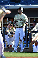 Vanderbilt Commodores infielder Joey Mundy (19) on deck to pinch hit during a game against the Indiana State Sycamores on February 21, 2015 at Charlotte Sports Park in Port Charlotte, Florida.  Indiana State defeated Vanderbilt 8-1.  (Mike Janes/Four Seam Images)