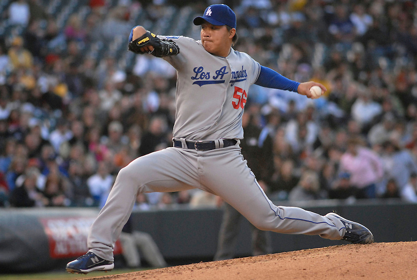 Los Angeles Dodgers pitcher Hong-Chih Kuo pitches against the Colorado Rockies during the Didgers 12-7 win over the Rockies on May 3. FOR EDITORIAL USE ONLY