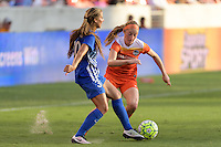Houston, TX - Sunday Sept. 11, 2016: Kylie Strom, Janine Beckie during a regular season National Women's Soccer League (NWSL) match between the Houston Dash and the Boston Breakers at BBVA Compass Stadium.