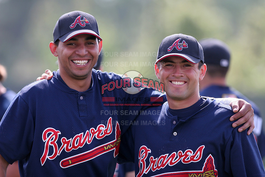 Atlanta Braves minor leaguers Jamie Trejo (left) and Ivan Terrazas (right) during Spring Training at Disney's Wide World of Sports on March 15, 2007 in Orlando, Florida.  (Mike Janes/Four Seam Images)
