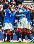 06.10.2019 Rangers v Hamilton: George Edmundson, Sheyi Ojo and Glen Kamara celebrate with Jermain Defoe