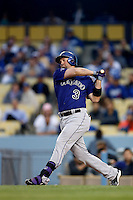 Michael Cuddyer #3 of the Colorado Rockies bats against the Los Angeles Dodgers at Dodger Stadium on April 30, 2013 in Los Angeles, California. (Larry Goren/Four Seam Images)