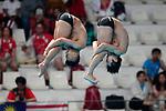 Ken Terauchi &  Sho Sakai (JPN), <br /> AUGUST 28, 2018 - Diving : <br /> Men's Synchronised 3m Springboard Final <br /> at Gelora Bung Karno Aquatic Center <br /> during the 2018 Jakarta Palembang Asian Games <br /> in Jakarta, Indonesia. <br /> (Photo by Naoki Morita/AFLO SPORT)