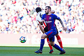 18th March 2018, Camp Nou, Barcelona, Spain; La Liga football, Barcelona versus Athletic Bilbao; Paco Alcacer of FC Barcelona challenges for the ball against San Jose of Athletic Bilbao