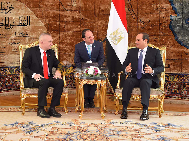 Egyptian President Abdel Fattah al-Sisi meets with President of Republic of Albania Ilir Meta, in Cairo on February 27, 2019. Photo by Egyptian President Office