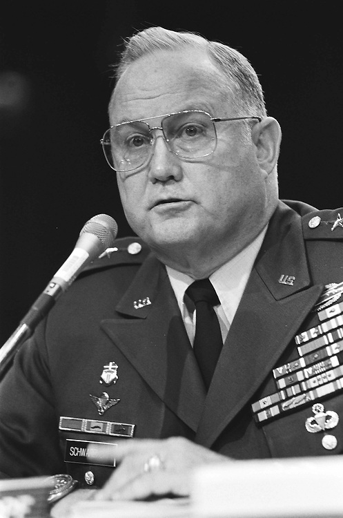 6/12/91.POST-WAR PERSIAN GULF--General Norman Shwarzkopf testifies before Senate Armed Services on the post-war Persian Gulf..CONGRESSIONAL QUARTERLY PHOTO BY MICHAEL JENKINS