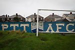 An interior view of the ground before Port Talbot Town played host to Caerau Ely in a Welsh Cup fourth round tie at the Genquip Stadium, formerly known as Victoria Road. Formed by exiled Scots in 1901 as Port Talbot Athletic, they competed in local and regional football before being promoted to the League of Wales  in 2000 and changing their name to the current version a year later. Town won this tie 3-0 against their opponents from the Welsh League, one level below the welsh Premier League where Port Talbot competed, watched by a crowd of 113.